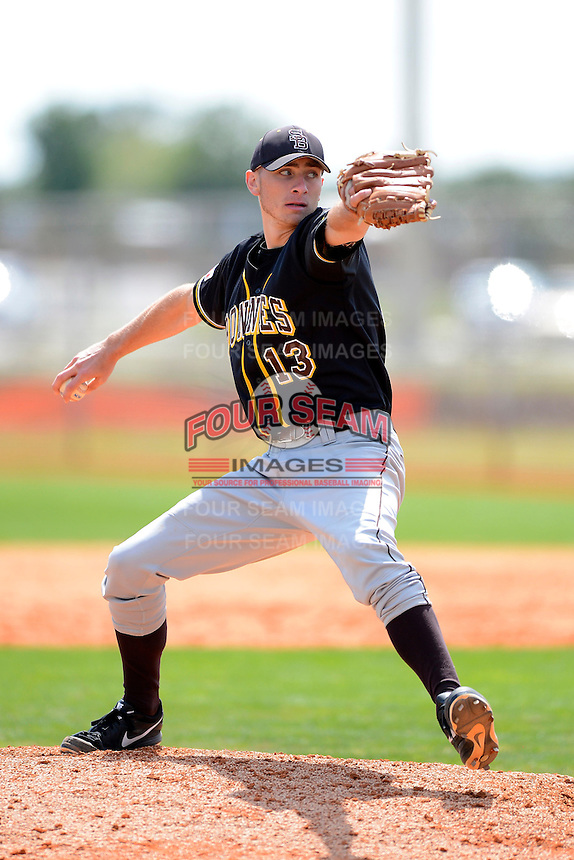 St. Bonaventure Bonnies pitcher Drew Teller #13 during a game against the Chicago State University Cougars at South County Regional Park on March 3, 2013 in Punta Gorda, Florida.  St. Bonaventure defeated Chicago State 16-3.  (Mike Janes/Four Seam Images)
