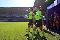 referees with referee Caroline Lanssens and referee Irmgard Van Meirvenne pictured during a female soccer game between RSC Anderlecht Dames and Standard Femina de Liege on the sixth matchday of the 2021 - 2022 season of Belgian Womens Super League , saturday 9 th of October 2021  in Brussels , Belgium . PHOTO SPORTPIX | DAVID CATRY