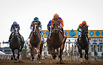 DEL MAR CA - JULY 30: Beholder leads first time by the grandstand in the Clement L Hirsch Stakes at Del Mar on July 30, 2016 in Del Mar, California. (Photo by Zoe Metz/Eclipse Sportswire/Getty Images)