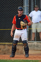 GCL Astros catcher Jake Bowey (21) during a game against the GCL Braves on July 23, 2015 at the Osceola County Stadium Complex in Kissimmee, Florida.  GCL Braves defeated GCL Astros 4-2.  (Mike Janes/Four Seam Images)