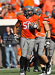 Oklahoma State Cowboys defensive end Jamie Blatnick (50) in action during the game between the Baylor Bears and the Oklahoma State Cowboys at the Boone Pickens Stadium in Stillwater, OK. Oklahoma State defeats Baylor 59 to 24.