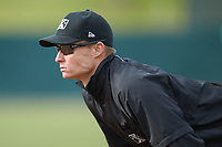 First base umpire Dillon Wilson during the South Atlantic League game between the Lakewood BlueClaws and the Kannapolis Intimidators at Kannapolis Intimidators Stadium on April 8, 2018 in Kannapolis, North Carolina.  The Intimidators defeated the BlueClaws 4-3 in game two of a double-header.  (Brian Westerholt/Four Seam Images)
