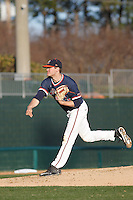 University of Virginia Cavaliers pitcher Conner Jones (33) on the mound during a game against the Kent State Golden Flashes at Ticketreturn.com Field at Pelicans Ballpark on February 19, 2016 in Myrtle Beach, South Carolina. Virginia defeated Kent State 8-6. (Robert Gurganus/Four Seam Images)