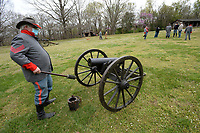 Scott Boehm of Huntsville prepares his M1841 mountain howitzer Saturday, April 3, 2021, while practicing firing two of three cannons that the cannon demonstration crew for Prairie Grove Battlefield State Park will demonstrate for the public this summer at the park in Prairie Grove. The group is made up of members of the First Arkansas Mountain Artillery and the Seventh Arkansas Field Artillery historical re-enactment groups. Visit nwaonline.com/210404Daily/ for today's photo gallery. <br /> (NWA Democrat-Gazette/Andy Shupe)