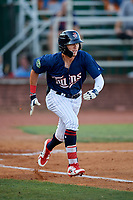Elizabethton Twins center fielder DaShawn Keirsey (8) runs to first base during a game against the Bristol Pirates on July 28, 2018 at Joe O'Brien Field in Elizabethton, Tennessee.  Elizabethton defeated Bristol 5-0.  (Mike Janes/Four Seam Images)