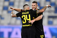 Cristiano Biraghi of FC Internazionale celebrates with Milan Skriniar after scoring the goal of 0-2 during the Serie A football match between SPAL and Internazionale FC at Paolo Mazza stadium in Ferrara ( Italy ), July 16th, 2020. Play resumes behind closed doors following the outbreak of the coronavirus disease. Photo Andrea Staccioli / Insidefoto