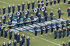 November 17, The Notre Dame Marching Band performs at halftime during the Shamrock Series football game against Syracuse in Yankee Stadium, New York. (Photo by Barbara Johnston/University of Notre Dame)