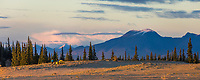 Camping in the Great Kobuk Sand Dunes, Baird Mountains in the distance, Kobuk Valley National Park, Alaska.