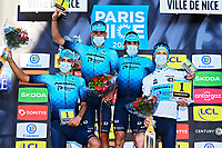 14th March 2021, Levens, France;  Best team Astana on podium after stage 8 of the 79th edition of the 2021 Paris - Nice cycling race, a stage of 92,7 kms between Plan-du-Var and Levens on March 14, 2021 in Levens, France