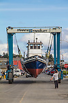 Tugboat Norene, on the hard, October 2020, shipwrights, Boat Haven Marina, Port of Port Townsend, Port Townsend, Puget Sound, Washington State,