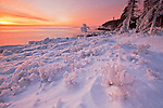 """Ice hoodoos and formations along Ocean Drive at sunrise after the blizzard, """"Nemo"""" at Acadia National Park, Maine, USA"""