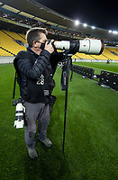 Alphapix photographer John Cowpland shoots the rugby match between North and South at Sky Stadium in Wellington, New Zealand on Saturday, 5 September 2020. Photo: Dave Lintott / lintottphoto.co.nz