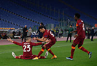 Football Soccer: Europa League -Round of 16 1nd leg AS Roma vs FC Shakhtar Donetsk, Olympic Stadium. Rome, Italy, March 11, 2021.<br /> Roma's Gianluca Mancini (L) celebrates after scoring with is teammates Stephan El Shaarawy (C) and Amadou Diawara (R) during the Europa League football soccer match between Roma and  Shakhtar Donetsk at Olympic Stadium in Rome, on March 11, 2021.<br /> UPDATE IMAGES PRESS/Isabella Bonotto