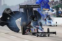 Apr. 28, 2013; Baytown, TX, USA: NHRA top fuel dragster driver Larry Dixon during the Spring Nationals at Royal Purple Raceway. Mandatory Credit: Mark J. Rebilas-
