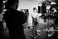 Caleb Ewan (AUS/Orica-GreenEDGE) being 'videographed' ahead of the Grande Partenza in Apeldoorn (NLD): team presentation of the 99th Giro d'Italia 2016 on the evening before the 1st stage