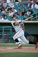 Aramis Garcia (18) of the San Jose Giants bats against the Lancaster JetHawks at The Hanger on August 13, 2016 in Lancaster, California. Lancaster defeated San Jose, 16-2. (Larry Goren/Four Seam Images)