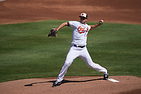 Baltimore Orioles pitcher John Means (47) during a Major League Spring Training game against the Philadelphia Phillies on March 12, 2021 at the Ed Smith Stadium in Sarasota, Florida.  (Mike Janes/Four Seam Images)