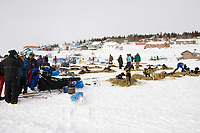 The top 6 teams rest at White Mountain checkpoint on Tuesday afternoon during Iditarod 2008