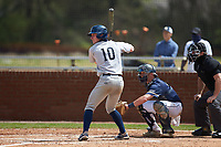 Joe Butts (10) of the Catawba Indians at bat against the Queens Royals during game one of a double-header at Tuckaseegee Dream Fields on March 26, 2021 in Kannapolis, North Carolina. (Brian Westerholt/Four Seam Images)