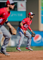29 February 2020: Washington Nationals top prospect infielder Luis Garcia in action during a Spring Training game against the St. Louis Cardinals at Roger Dean Stadium in Jupiter, Florida. The Cardinals defeated the Nationals 6-3 in Grapefruit League play. Mandatory Credit: Ed Wolfstein Photo *** RAW (NEF) Image File Available ***