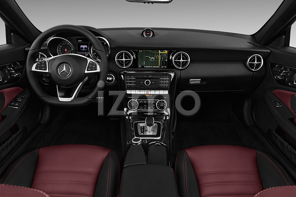 Stock photo of straight dashboard view of a 2018 Mercedes Benz SLC Sportline 2 Door Convertible