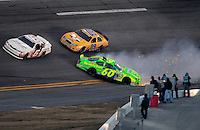 Feb 7, 2009; Daytona Beach, FL, USA; ARCA RE/MAX Series driver Patrick Sheltra (60) crashes during the Lucas Oil Slick Mist 200 at Daytona International Speedway. Mandatory Credit: Mark J. Rebilas-