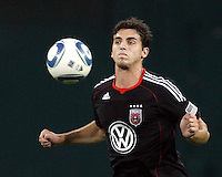 Dejan Jakovic #5 of D.C. United chests the ball forward during an MLS match against the Houston Dynamo at RFK Stadium in Washington D.C. on September  25 2010. Houston won 3-1.