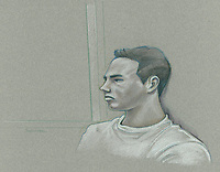 Montreal - CANADA - File images -  An artist's sketch shows Luka Rocco Magnotta appearing in court for his preliminary hearing in Montreall for the murder of Jin Li, March 12, 2013.<br /> <br /> It is one of the most grisly and sensational murder trials in Canadian history<br /> <br /> Image :  Agence Quebec Presse  - Atalante