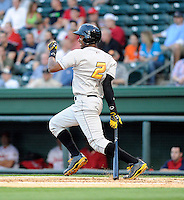 Outfielder Josh Bell (2) of the West Virginia Power in a game against the Greenville Drive on Tuesday, April 16, 2013, at Fluor Field at the West End in Greenville, South Carolina. Bell is the No. 6 prospect for the Pittsburgh Pirates, according to Baseball America. West Virginia won, 8-3. (Tom Priddy/Four Seam Images)  .