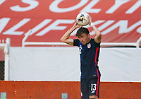GUADALAJARA, MEXICO - MARCH 28: Sam Vines #13 of the United States with a throw in during a game between Honduras and USMNT U-23 at Estadio Jalisco on March 28, 2021 in Guadalajara, Mexico.