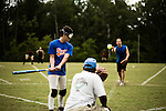 July 25, 2008. Durham, NC.. Started over 30 years ago, Beep Ball is baseball for the visually impaired. Played with an oversized softball that beeps, and bases that also make sound, the game has allowed people with varying degrees of visual impairment to participate in a team sport. All players are required to wear blacked out masks, to equalize the impairment and if the fielding team gets control of the ball before the hitting player reaches the base, an out is recorded. If the hitting player reaches the base first, a run is scored. There are only 2 bases, one to the left and one to the right, and the hitting player hears a tone after the hit is made, to add to the difficulty, telling them which base to run to.. The pitcher for each team is a member of the same team and is sighted. Part of practice is getting the pitcher used to the individual swing of each batter.