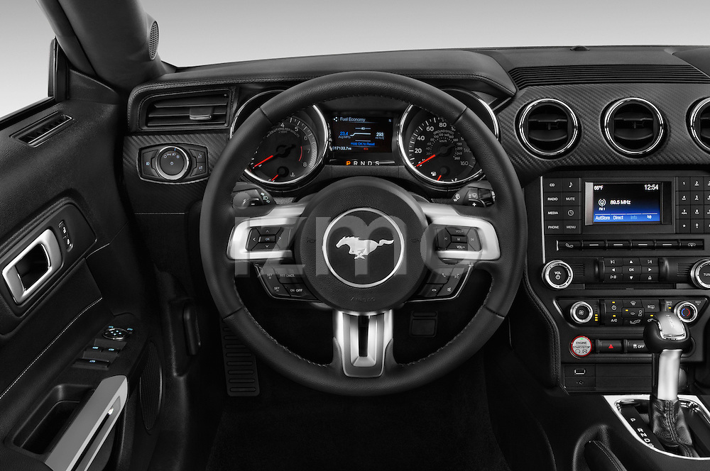 Car pictures of steering wheel view of a 2017 Ford Mustang V6 2 Door Convertible Steering Wheel