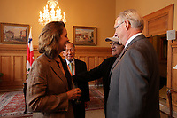 August 27 2012 - Montreal (Qc) CANADA - <br /> The jury of the 2012 World Film Festival at  Montreal City hall.<br /> (Left to right) : Greta Scacchi, shake hand with Gerald Tremblay, Mayor of Montreal.<br /> <br /> The World Films Festival 35th edition run til September 2012.<br /> <br /> <br />  File Photo Agence Quebec Presse - Pierre Roussel