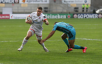 25 October 2020; James Hume of Ulster in action against Ashton Hewitt of the Dragons during the Guinness PRO14 match between Ulster and Dragons at Kingspan Stadium in Belfast. Photo by John Dickson/Dicksondigital