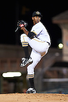 Bradenton Marauders relief pitcher Junior Lopez (52) delivers a pitch during a game against the Fort Myers Miracle on April 9, 2016 at McKechnie Field in Bradenton, Florida.  Fort Myers defeated Bradenton 5-1.  (Mike Janes/Four Seam Images)