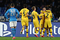 Antoine Griezmann of Barcelona celebrates with team mates after scoring the goal of 1-1 <br /> Napoli 25-02-2020 Stadio San Paolo <br /> Football Champions League 2019/2020 - Round 16, 1st leg<br /> SSC Napoli - FC Barcelona<br /> Photo Cesare Purini / Insidefoto