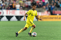FOXBOROUGH, MA - AUGUST 4: Randall Leal #8 of Nashville SC on the attack during a game between Nashville SC and New England Revolution at Gillette Stadium on August 4, 2021 in Foxborough, Massachusetts.
