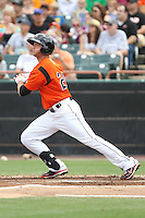 Bowie Baysox outfielder Robbie Widlansky #20 bats during a game against the New Hampshire Fisher Cats at Prince George's Stadium on June 17, 2012 in Bowie, Maryland. New Hampshire defeated Bowie 4-3 in 13 innings. (Brace Hemmelgarn/Four Seam Images)