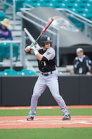 Cole Fabio (1) of the Bryant Bulldogs at bat against the Coastal Carolina Chanticleers at Springs Brooks Stadium on March 13, 2015 in Charlotte, North Carolina.  The Chanticleers defeated the Bulldogs 7-2.  (Brian Westerholt/Four Seam Images)