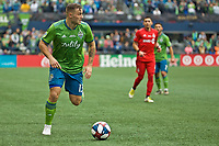 SEATTLE, WA - NOVEMBER 10: Seattle Sounders forward Jordan Morris #13 controls the ball during a game between Toronto FC and Seattle Sounders FC at CenturyLink Field on November 10, 2019 in Seattle, Washington.