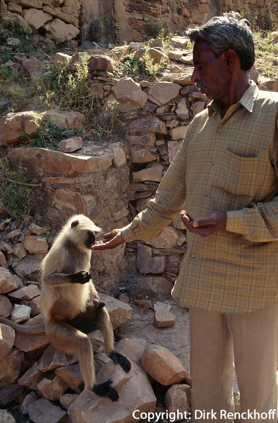 Indien, Fort Ranthambhore, Pilger füttert Affe