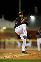 Batavia Muckdogs pitcher Jonaiker Villalobos (20) during a NY-Penn League game against the Williamsport Crosscutters on August 26, 2019 at Dwyer Stadium in Batavia, New York.  Batavia defeated Williamsport 10-0.  (Mike Janes/Four Seam Images)