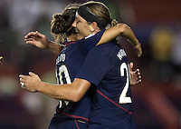 Abby Wambach and Carli Lloyd celebrate. USWNT vs Costa Rica in the 2010 CONCACAF Women's World Cup Qualifying tournament held at Estadio Quintana Roo in Cancun, Mexico on November 8th, 2010.