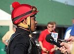 May 26, 2015 Jockey Martin Garcia interviewed after breezing American Pharoah.  ©Mary M. Meek/ESW/CSM
