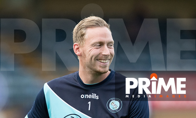 Goalkeeper Ryan Allsop of Wycombe Wanderers pre match during the Carabao Cup 2nd round match between Wycombe Wanderers and Forest Green Rovers at Adams Park, High Wycombe, England on 28 August 2018. Photo by Andy Rowland.