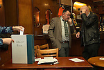 Made in Roath Arts Festival 2014. Cardiff Wales. Roath Park pub. Voting papers into ballot box.
