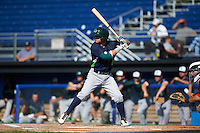 Vermont Lake Monsters second baseman Trace Loehr (6) at bat during the first game of a doubleheader against the Batavia Muckdogs August 11, 2015 at Dwyer Stadium in Batavia, New York.  Batavia defeated Vermont 6-0.  (Mike Janes/Four Seam Images)