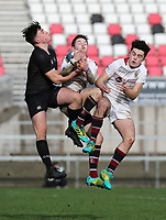 Tuesday 6th March 2019 | Ulster Schools Cup - Semi Final 1<br /> <br /> Benji Boyd wins this ball in the air during the Ulster Schools cup semi-final between Campbell College Belfast and the Royal School Armagh at Kingspan Stadium, Ravenhill Park, Belfast, Northern Ireland. Photo by John Dickson / DICKSONDIGITAL