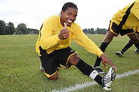 A Hackney Downs FC player gives the thumbs up prior to an East London Sunday League match at Hackney Marshes - 20/09/09 - MANDATORY CREDIT: Gavin Ellis/TGSPHOTO - Self billing applies where appropriate - Tel: 0845 094 6026