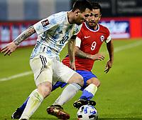 3rd June 2021; Estadio Único de Santiago del Estero, Santiago del Estero, Argentina; World Cup football qualification, Argentina versus Chile; Lionel Messi of Argentina goes past Jean Meneses of Chile